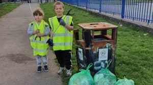 Mum Makes Kids Do 'Community Service' Litter Picking To Discipline Them