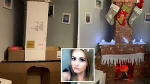Mum Creates Fireplace With Chimney For Santa - And It Didn't Cost Her A Penny