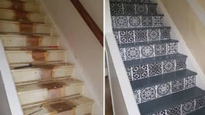 Woman Unveils Incredible £65 Stairway Transformation