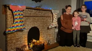 Woman Creates Own Fireplace For Just £2 So Her Kids Can Hang Stockings This Christmas