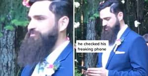 Groom Sparks Debate After Checking His Phone As Wife Walks Down Aisle