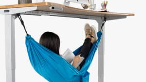 You Can Now Buy A Hammock That Goes Under Your Desk And It's Perfect For Lazy Girls