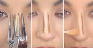 Makeup Artist Shows How To Contour Your Nose With A Fork