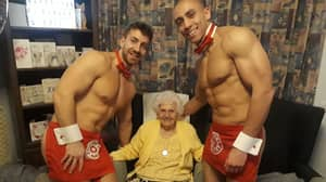 Great Grandmother Celebrates 100th Birthday With Hunks In Trunks