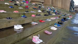 This Charity Placed 226 Pairs Of Shoes On Steps For Every Child Lost To Suicide