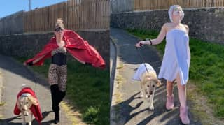 Woman Dresses Up As A Different Character Every Day To Walk Her Dog And It's Extra AF