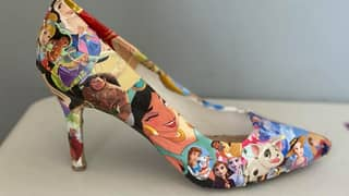 Woman Upcycles Old Heels Into Stunning Disney Shoes