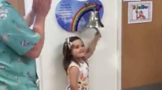 Little Girl Wins Cancer Battle And Rings Hospital Bell As She Leaves