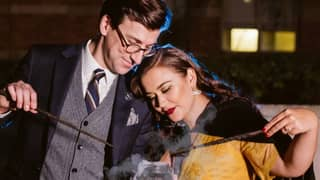 'Harry Potter' Fans Take Part In A Hogwarts-Inspired Engagement Photo Shoot