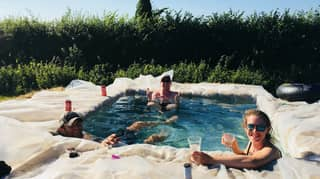 Family Build Swimming Pool In Their Back Garden Using Hay Bales