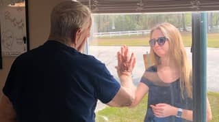 Touching Moment Woman Shows Grandad Engagement Ring Through Window Due To Coronavirus Isolation