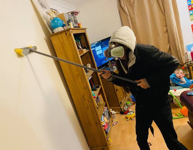 Christina and her hubby were forced to scrub the entire living room (Credit: Kennedy News Media)
