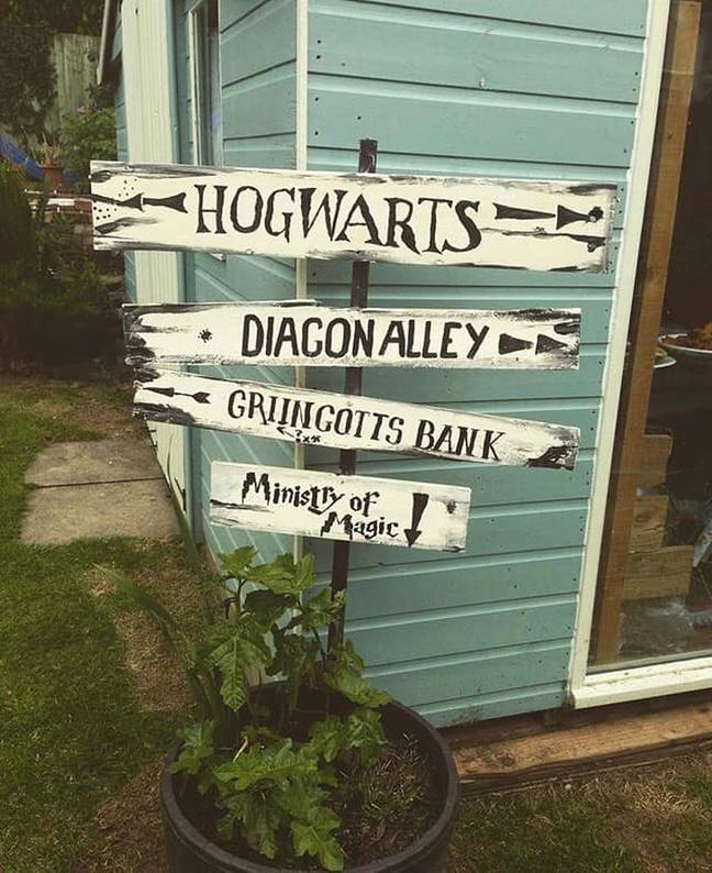 Hannah even installed a sign in her garden (Credit: Caters)