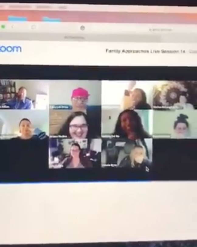 Jennifer's colleagues are in fits of giggles in the now-viral video (Credit: Twitter)