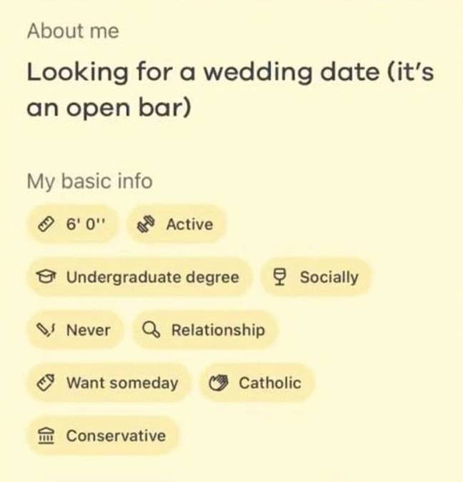 The man said she was looking for a date for a wedding (Credit: TikTok - dilemma.rec)