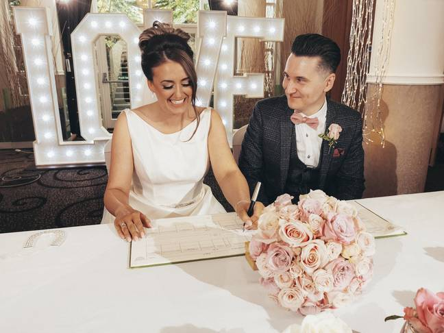 Holly Eeles, 26, and James Sherris, 34, married at Low Wood Bay Resort and Spa in Windermere. (Credit: SWNS)