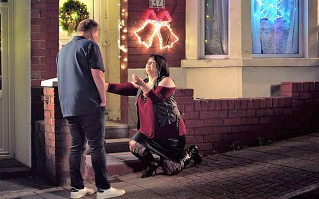 Nessa proposed to Smithy in the Christmas special (Credit: BBC)