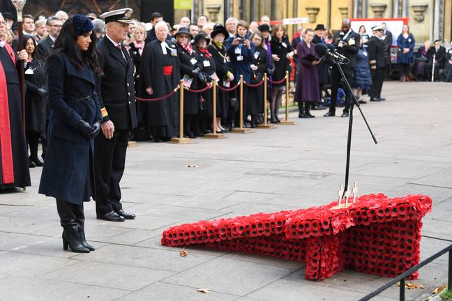 Meghan Markle at a Remembrance Day engagement in November (Credit: PA)