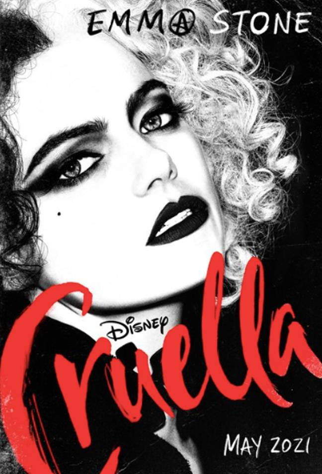 In the image, Emma can be seen as Cruella, with the iconic black and white Cruella hair and dark lipstick (Credit: Twitter/Disney)