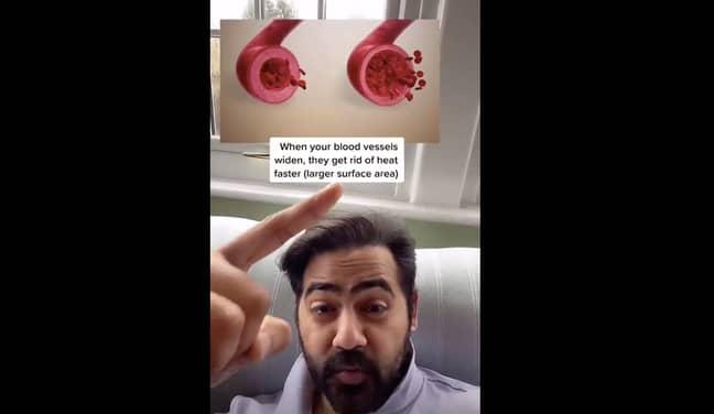 Wearing socks in bed increases circulation, explains Dr Raj (Credit: TikTok/Dr Karan Raj)