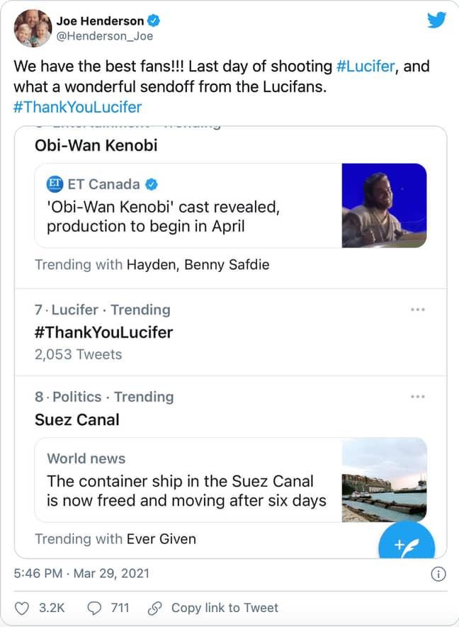 Joe Henderson, Lucifer's co-showrunner, announced the news on Twitter (Credit: Twitter)