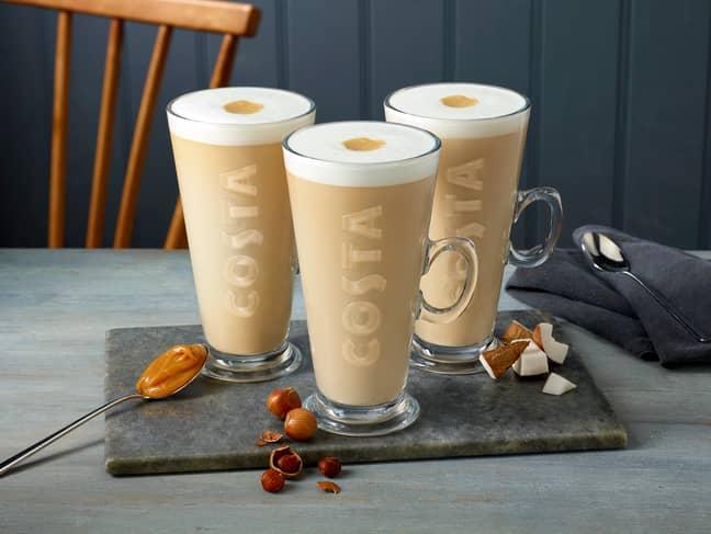 The Caramel Oat Latte+, Vanilla Coconut Latte+ and Hazlenut Almond Latte+ (Credit: Costa)