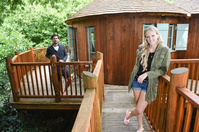 The couple have spent 13 weeks in a luxury treehouse (Credit: Caters)