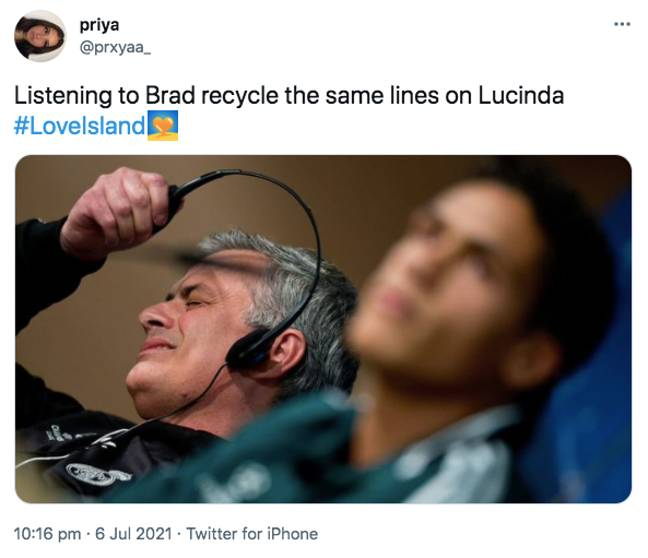 Others couldn't believe that Brad recycle the same chat-up lines (Credit: Twitter)