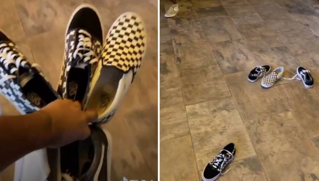 The TikTok demonstrated the hack with three pairs of trainers (Credit: TikTok/@hopjuiceipa)