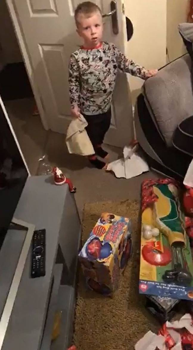 Byron-Joe sneaked down to open the presents in the middle of the night (Credit: Kennedy News and Media)