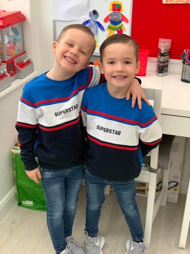 The couple welcomed non-identical twin boys Freddy and Olly in November 2014 (Credit: Caters)