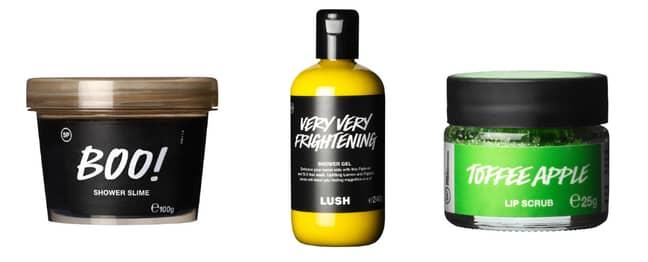 Boo Shower Slime (£6), Very Very Frightening! Shower Gel (£12), Toffee Apple Lip Scrub (£6.50) (Credit: Lush)