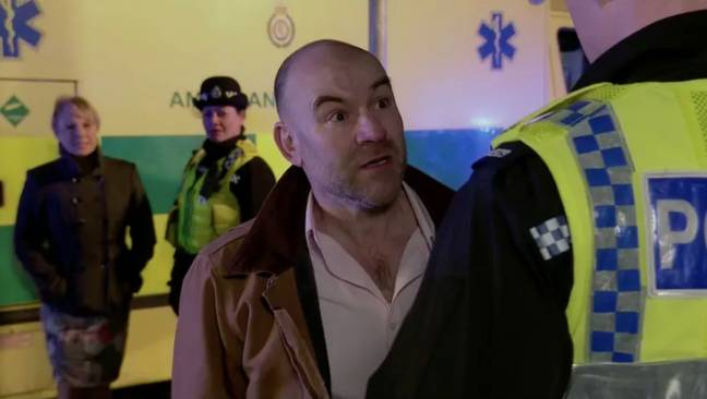 Geoff's son Tim is stopped from entering the house by police (Credit: ITV)