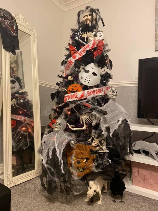 Chantel's tree is jam packed with creepy decor (Credit: Chantel Jones)