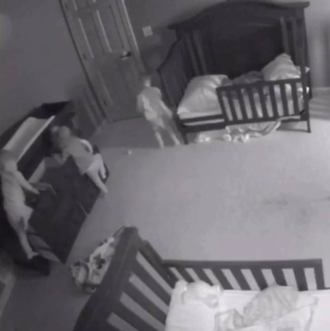 The toddler triplets began climbing the chest during their nap time (Credit: Caters)