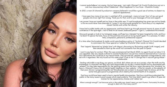 Charlotte Crosby released a statement after Channel 5 aired a documentary about her appearance (Credit: Charlotte Crosby/ Instagram)