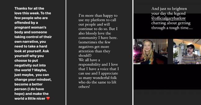 Laura released this statement on her Insta' stories (Credit: Instagram/ Laura Whitmore)