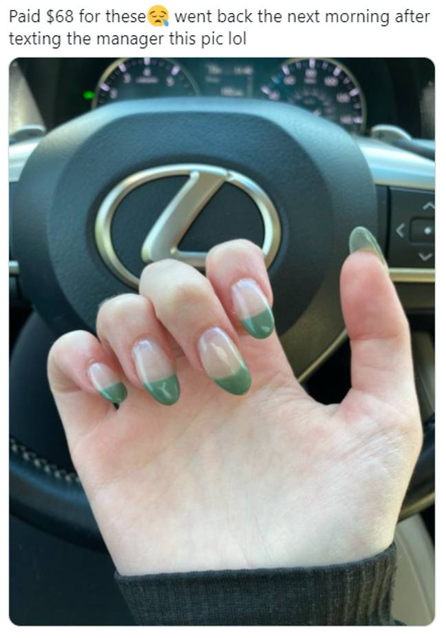 These manicure feels are pretty shocking to look at, let alone have (Credit: Twitter/@colgan_ciara)
