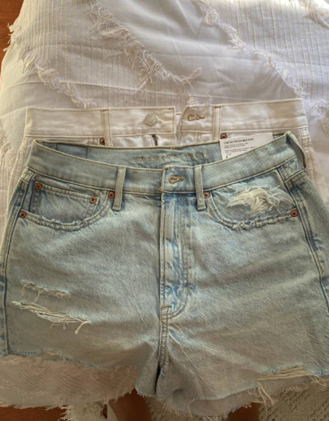The woman took photos of the shorts side by side (Credit: Twitter)