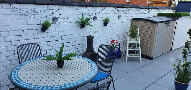 The original idea for Chris' Greek-inspired garden came from a blue and white tiled table he already owned (Credit: Chris Ryan)