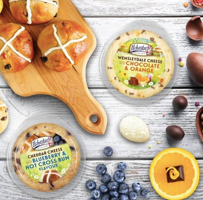 Over Easter, the brand launched a Blueberry & Hot Cross Bun Cheddar and a Chocolate & Orange Wensleydale (Credit: Ilchester Cheese)