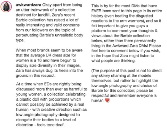 The Instagram account shared this statement (Credit: Instagram/ @AwkwardZara)