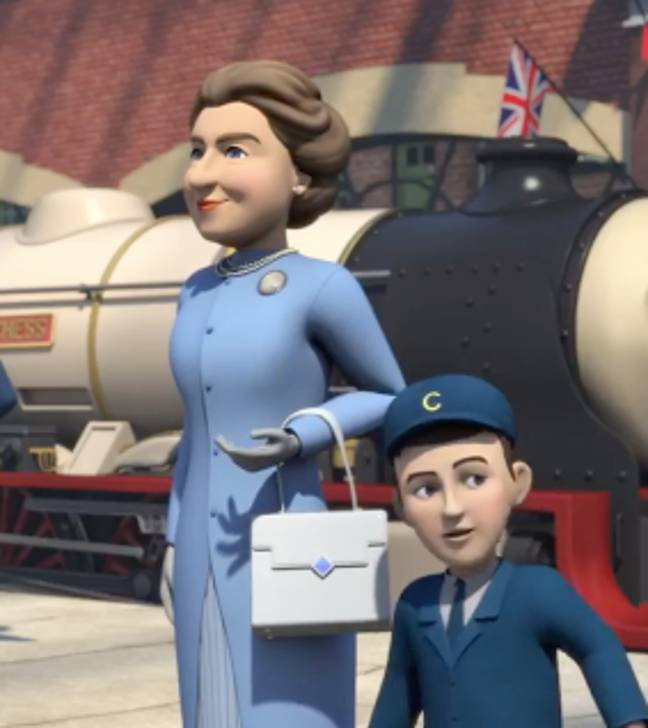 The special episode even features the Queen and Prince Charles as a child (Credit: Mattel/Thomas & Friends)