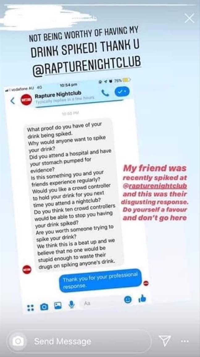 Rapture's response. Credit: Facebook/Instagram