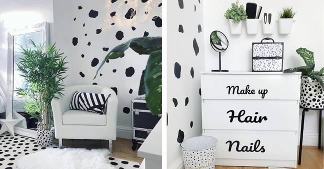The monochrome feature wall in this teen bedroom works beautifully teamed with fresh potted plants (Credit: Instagram / @sweet_home_of_mine)