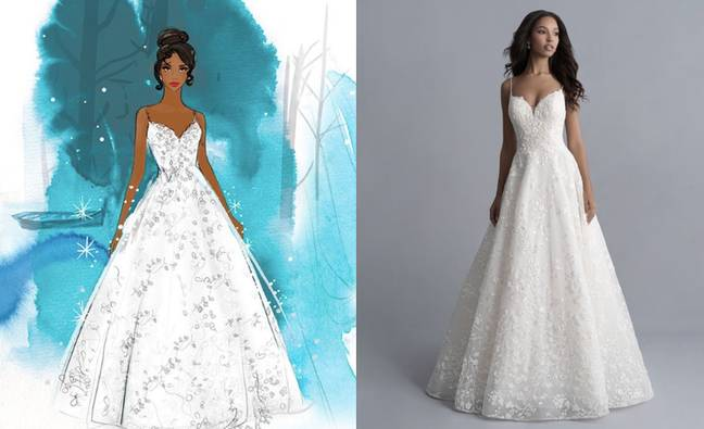 One of Tatiana's dresses features embroidered vines (Credit: Allure Bridal/Disney)