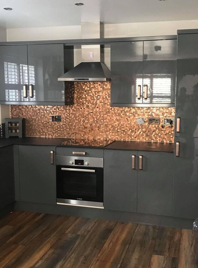 Emma's unique kitchen wall feature is made entirely out of old and new pennies (Credit: Emma Cox / Latest Deals)