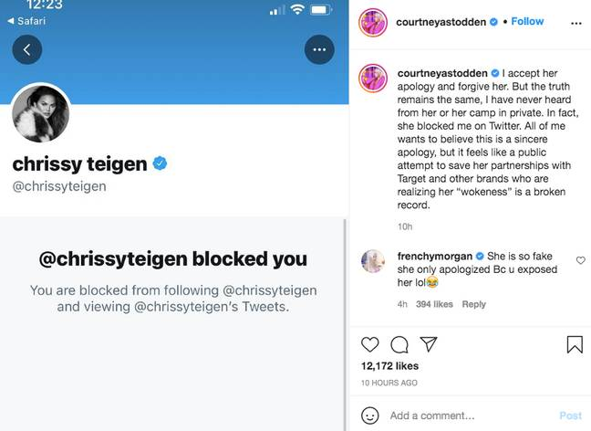 Courtney suggested Chrissy's apology wasn't sincere (Credit: Instagram)