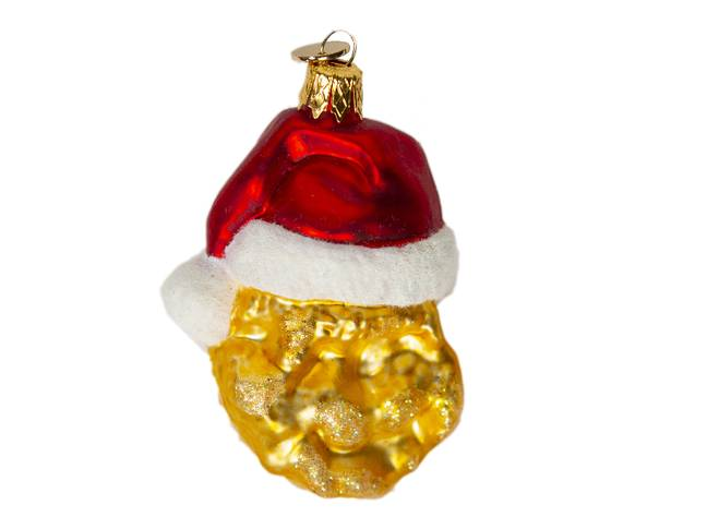 The chicken nugget bauble is made from mouth-blown glass. (Credit: McDonald's)