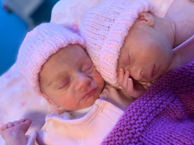 The twins were born via surrogate (Credit: Caters)